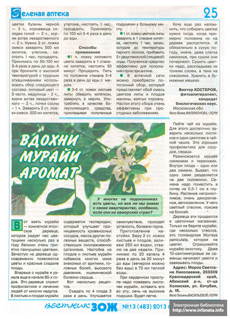Вестник ЗОЖ №13 (483) 2013 страница 25